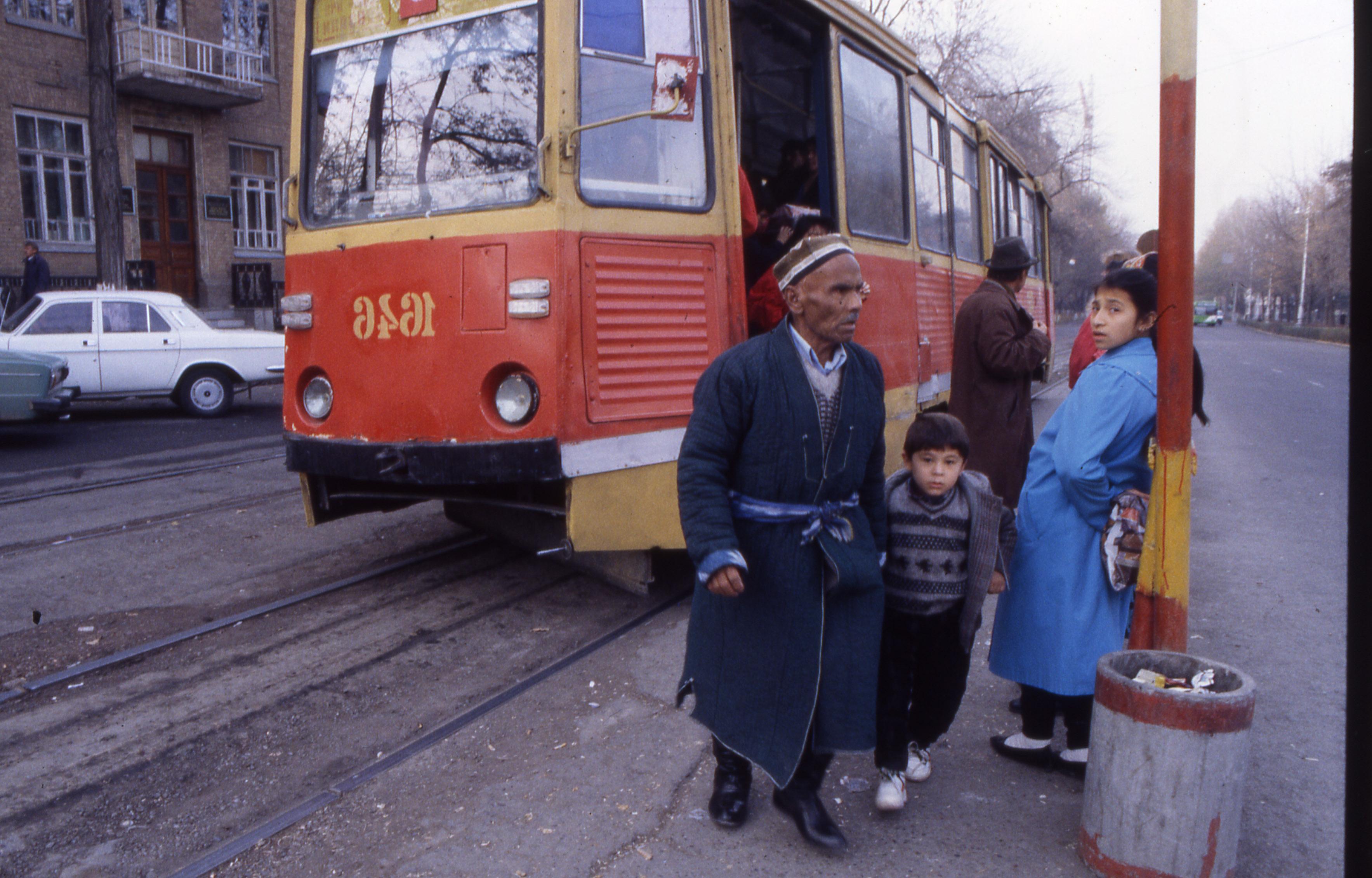 Tram stop in central Tashkent